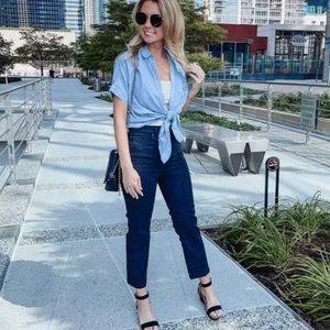 Express High Rise Straight Leg Cropped Jeans